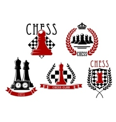 Chess game icons with boards clock and pieces vector