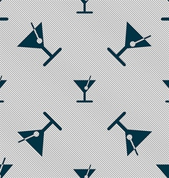 cocktail icon sign Seamless pattern with geometric vector image vector image