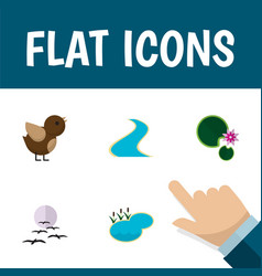 Flat icon bio set of tributary bird gull and vector