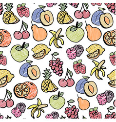 Fruit seamless pattern banana lemon orange vector