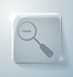 Glass square icon magnifier reduction vector