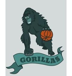 Gorilla basketball club emblem vector