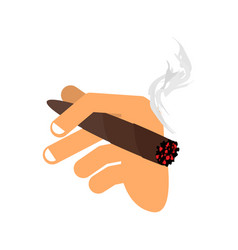 Hand with cigar isolated men hand holding smoke vector
