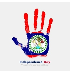 Handprint with the flag of belize in grunge style vector
