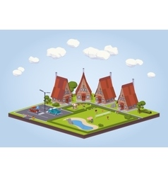 Hotel with the wooden cabins vector