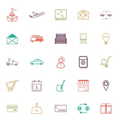 International business line icons flat color vector