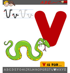 Letter v with cartoon viper vector