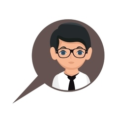Man avatar character with speech bubble vector