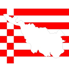 Map and flag of Bremen vector image