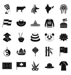 monument icons set simple style vector image vector image