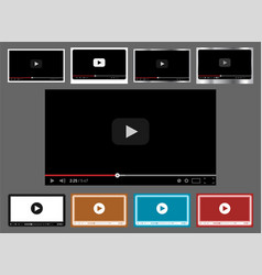 Pack of 9 in 1 video player templates for web and vector