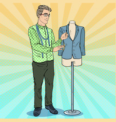 Pop art male fashion designer with mannequin vector