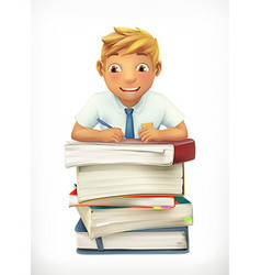 Pupil and school textbooks Little boy cartoon vector image
