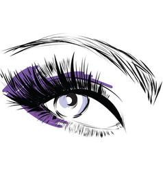 Purple scribbles female closed female eye vector