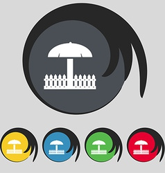 Sandbox icon sign symbol on five colored buttons vector