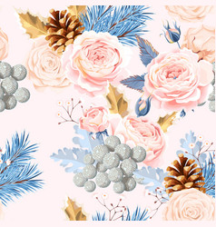 Seamless pattern with white roses vector