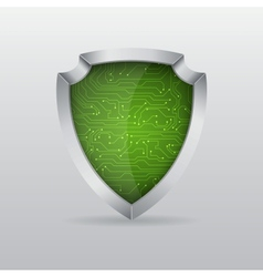 Shield with microchip vector image vector image