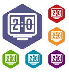 Soccer scoreboard icons set hexagon vector