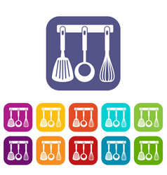 Spatula ladle and whisk kitchen tools icons set vector