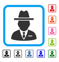 Spy person framed icon vector