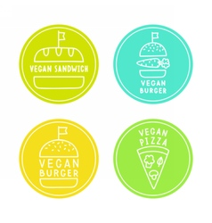 Vegan food badges burgers pizza sandwich vector