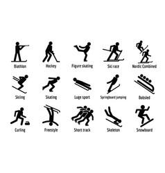 Winter sport symbols icons set simple style vector