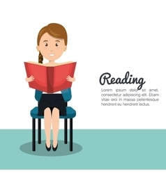 Woman reading textbook r icon vector