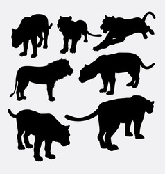 Lion panther and puma silhouette vector