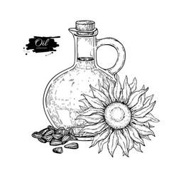 Bottle of sunflower oil with flower and heap of vector