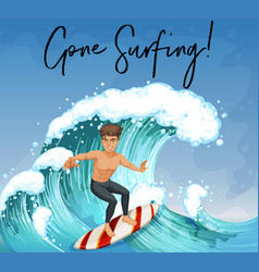 Man surfing in ocean vector