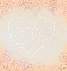 Background with roses and heart vector