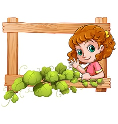 A frame with a cute young girl vector image