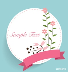 Cute card with ribbon and floral bouquets vector