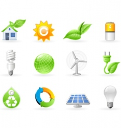 Ecology and green energy icon vector