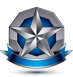 Sophisticated emblem with silver glossy star and vector