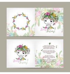 Postcard floral design with cute girl sketch vector