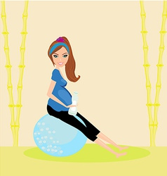 Pregnant woman at blue gym ball vector