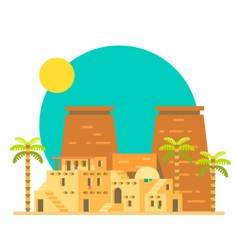 Flat design of thebes with village in egypt vector