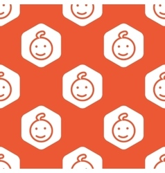 Orange hexagon smiling child pattern vector