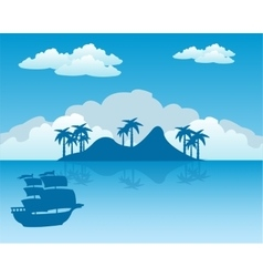 Tropical island and sailing nave vector