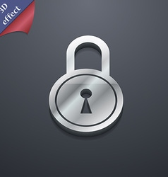 Closed lock icon symbol 3d style trendy modern vector