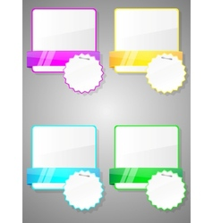 set of colorful stickers with paper card vector image