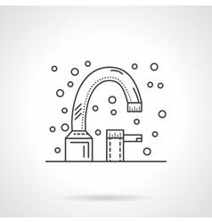 Bath faucet flat line design icon vector