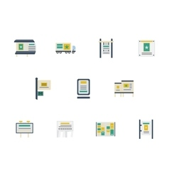 Advertising spaces flat color icons vector