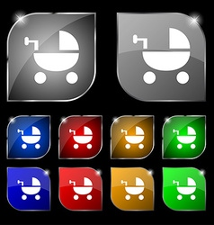 Baby stroller icon sign set of ten colorful vector
