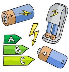 batteries and energetic classes vector image vector image