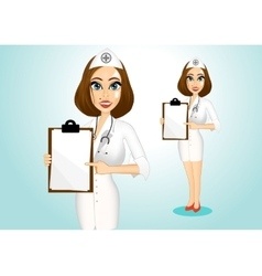 beautiful doctor holding clipboard vector image vector image