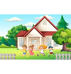 Boys and girl running in the backyard vector image vector image