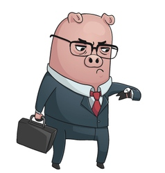 Business Pig vector image