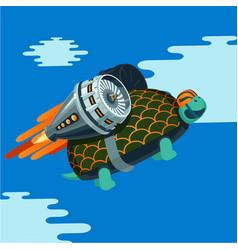 cartoon turtle with rocket turbine vector image vector image